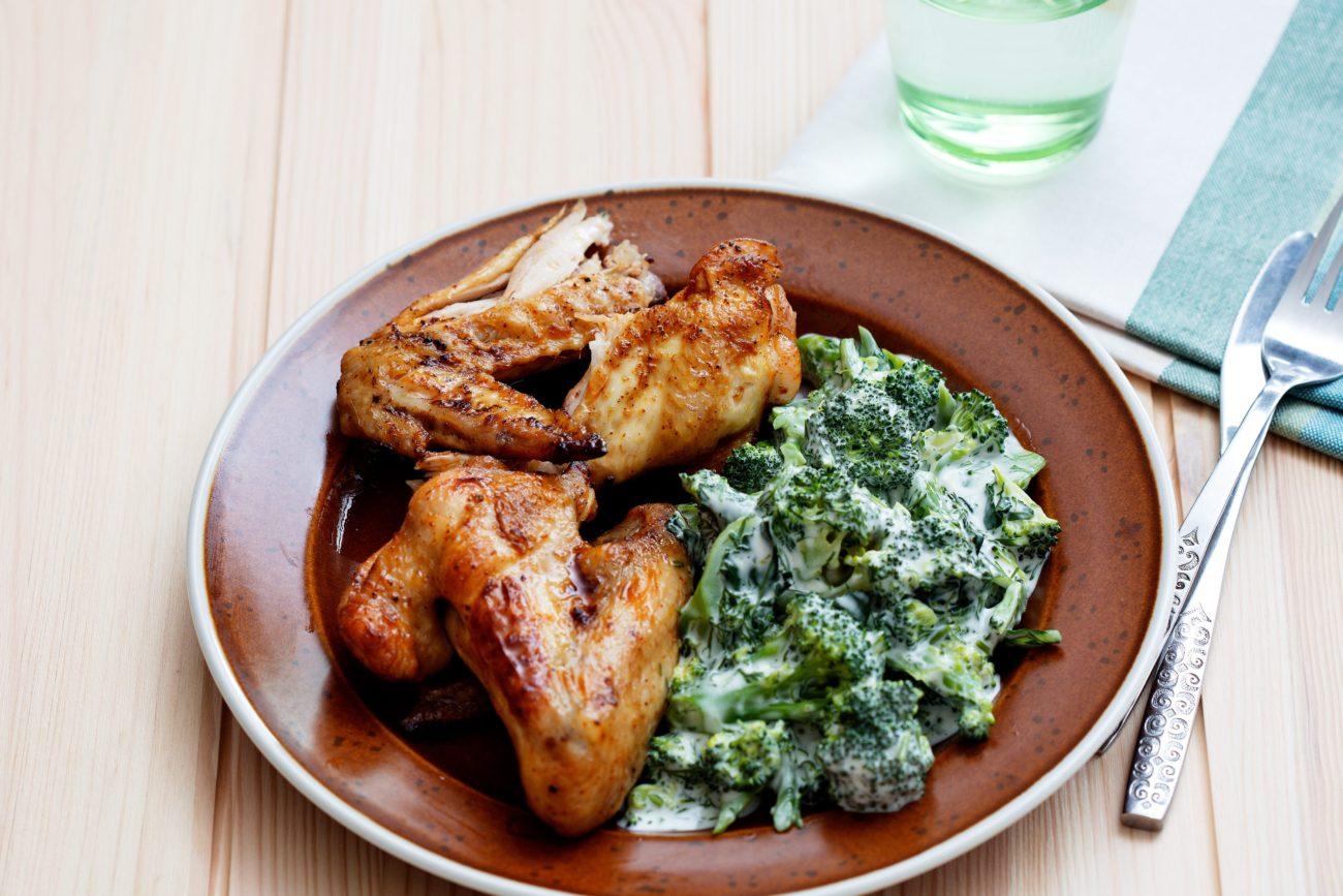 Куриные крылья с брокколи в сливочном соусе
