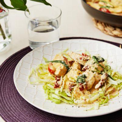 Курица по-итальянски с пармезаном и капустой